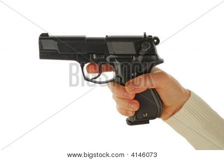 The hand takes gun isolated on white background (closeup) poster