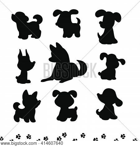 Collection Of Funny Dog Silhouetters Different Breeds Sit And Stand Isolated On White Background. Ve