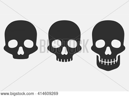 Set Of Skull Icon Isolated On White Background. Vector Illustration.