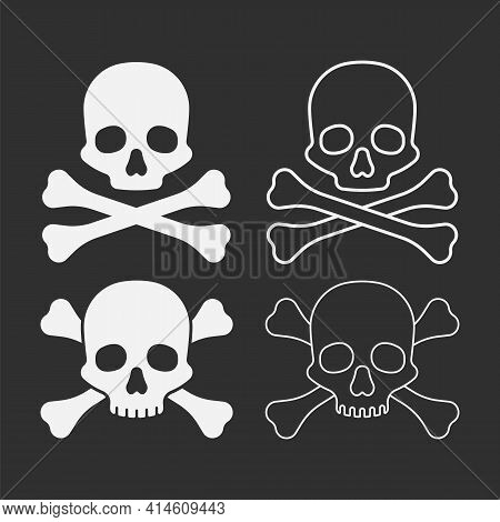 Set Of Skull With Bones Isolated On White Background. Vector Illustration.