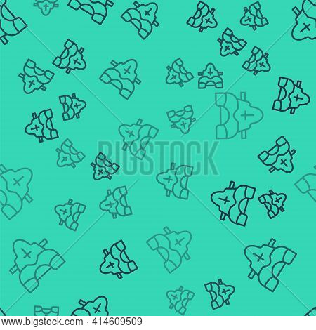 Black Line American Football Player Chest Protector Icon Isolated Seamless Pattern On Green Backgrou