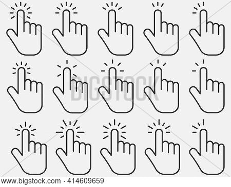 Set Of Hand Clicking Icons. Click Finger Pointer. Vector Illustration.