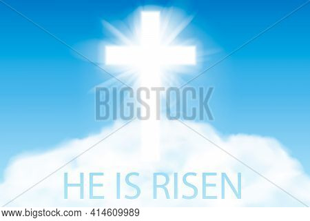 Easter Background. Cross And Heaven With White Clouds. Vector Illustration.