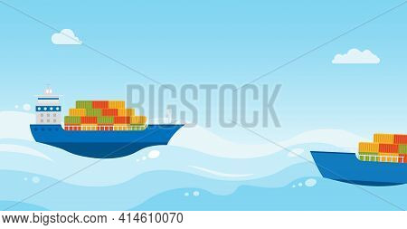 Two Cargo Sea Ships With Cargo Are Sailing On Sea. Cargo Delivery.