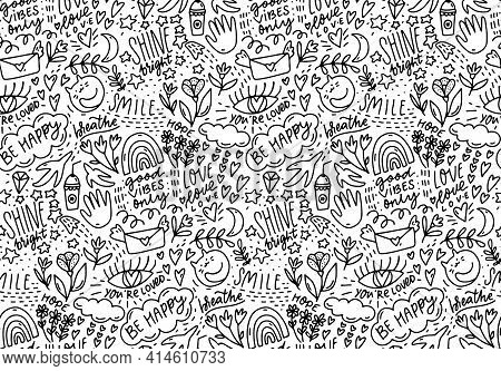 Positive Words Doodle Pattern, Lots Of Hand Drawn Elements And Sayings. Smile, Be Happy, Shine - Han