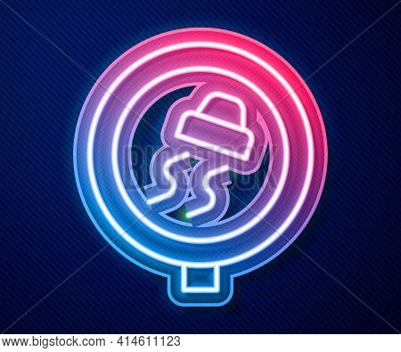 Glowing Neon Line Slippery Road Traffic Warning Icon Isolated On Blue Background. Traffic Rules And