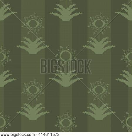 Abstract Dandelion Seeds Striped Seamless Vector Pattern Background.stylized Folk Art Mix Of Herbaci