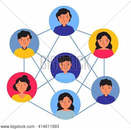 Social Networking Concept. Avatars Of People Connected With Each Other Teambuilding, Working Busines