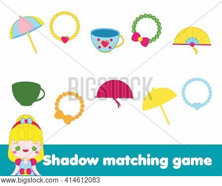 Shadow Matching Game. Princess Theme Kids Activity. Find Silhouette Page For Toddlers