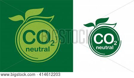 Co2 Neutral Green Floral Flat Sticker, Net Zero Carbon Dioxyde Footprint - Carbon Emissions Free No
