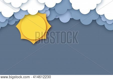 Sun With Cloud. Cloudy Sky. Paper Cut Weather.