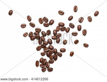 Coffee Beans Over White Background - Flat Lay