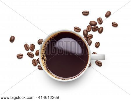 Black Coffee And Coffee Beans On White Background - Flat Lay