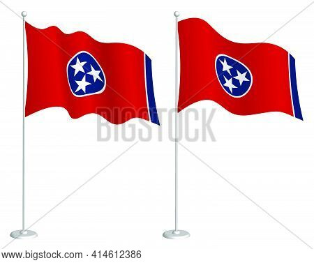 Flag Of American State Of Tennessee On Flagpole Waving In Wind. Holiday Design Element. Checkpoint F
