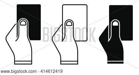 Sports Match Referee Hand Showing Card For Player Breaking The Rules. Sports Team Game Of Soccer, Fo