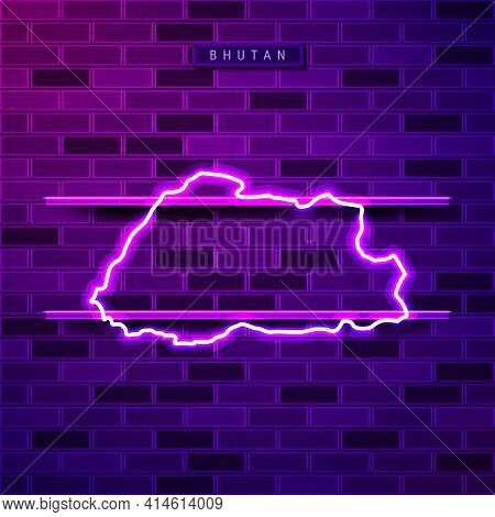 Bhutan Map Glowing Neon Lamp Sign. Realistic Vector Illustration. Country Name Plate. Purple Brick W