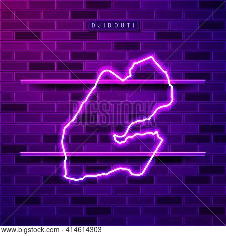 Djibouti Map Glowing Neon Lamp Sign. Realistic Vector Illustration. Country Name Plate. Purple Brick