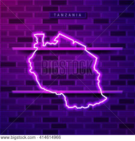 Tanzania Map Glowing Neon Lamp Sign. Realistic Vector Illustration. Country Name Plate. Purple Brick