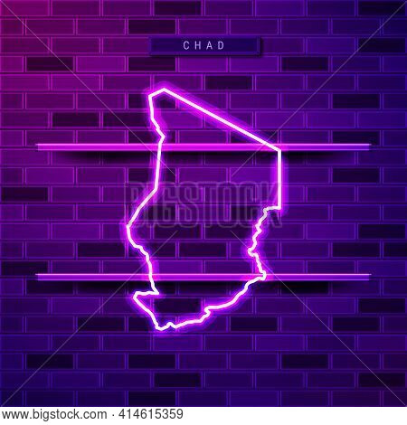 Chad Map Glowing Neon Lamp Sign. Realistic Vector Illustration. Country Name Plate. Purple Brick Wal