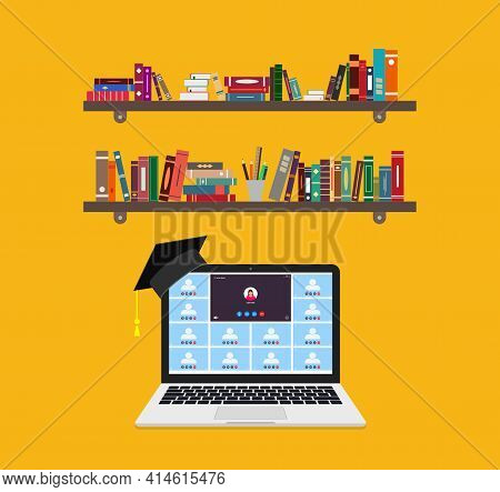 Online Education On Laptop. Learning Of Class In Teleconference Or Webinar. Remote Education In Coll