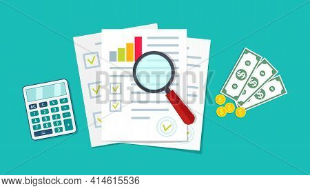 Financial Audit. Icon Of Research, Chart And Report. Document With Verification Data, Result Of Anal