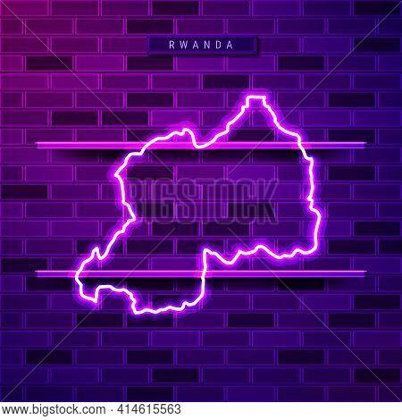 Rwanda Map Glowing Neon Lamp Sign. Realistic Vector Illustration. Country Name Plate. Purple Brick W