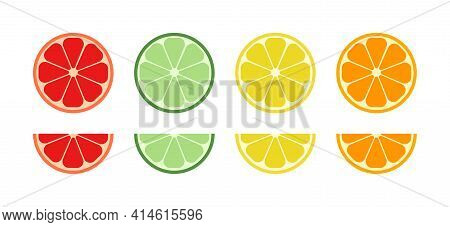 Slice Of Orange, Citrus, Lemon, Grapefruit, Lime, Mandarin And Mojito. Fruit With Vitamin C. Round,