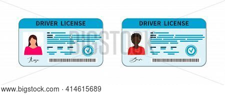 Driver License. Card Of Driver Licence With Id. Document With Identity Of Drive And Photo. Icon For