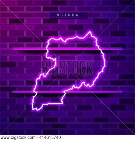 Uganda Map Glowing Neon Lamp Sign. Realistic Vector Illustration. Country Name Plate. Purple Brick W