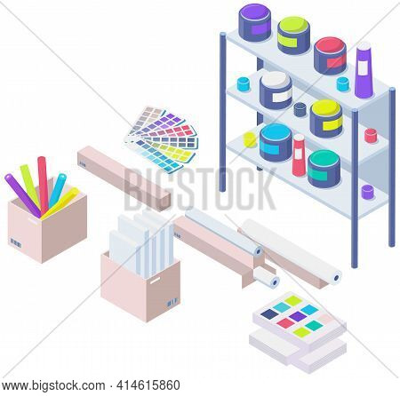 Shelving With Paints In Modern Typography Or Print Office, Color Equipment, Paint Palette