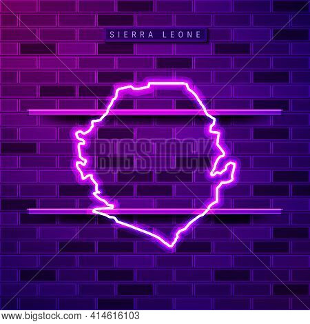 Sierra Leone Map Glowing Neon Lamp Sign. Realistic Vector Illustration. Country Name Plate. Purple B