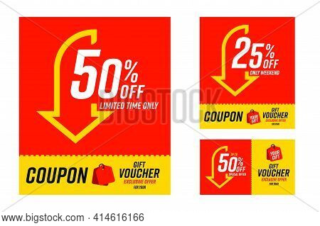 Coupon Gift Voucher With 50 And 25 Percent Off Limited Time. Set Of Tear-off Sale Card With Exclusiv
