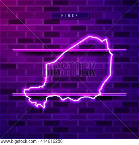 Niger Map Glowing Neon Lamp Sign. Realistic Vector Illustration. Country Name Plate. Purple Brick Wa