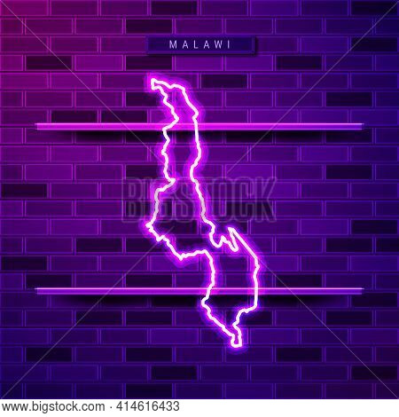 Malawi Map Glowing Neon Lamp Sign. Realistic Vector Illustration. Country Name Plate. Purple Brick W