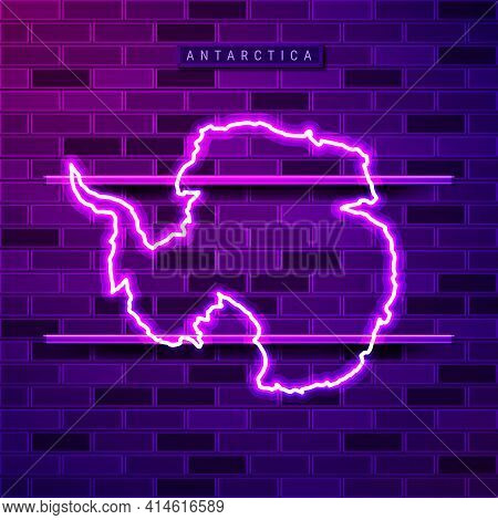 Antarctica Map Glowing Neon Lamp Sign. Realistic Vector Illustration. Country Name Plate. Purple Bri