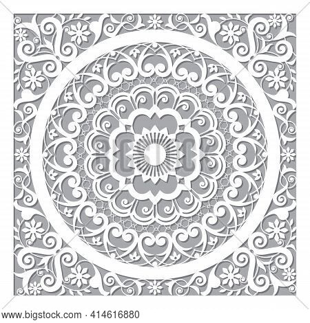 Cool Moroccan Vector Openwork Mandala Design In Square In White And Gray Inspired By The Old Carved