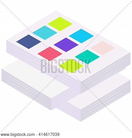 Documents With Color Samples. Stacked Pile Of Print House Products, Large Sheets Of Paper