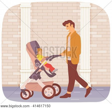 Father Walking Along City Street With Baby Sitting In Stroller. Dad On Maternity Leave With Child