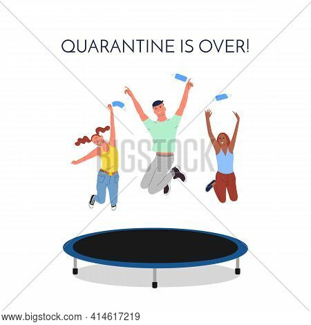 Crowd Of Young Happy Smiling Multinational Diverse People Are Jumping On Trampoline Outdoors Throwin