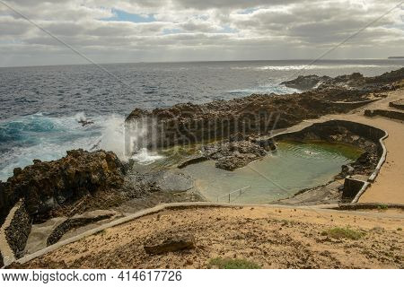 Natural Swimming Pool Of Charco Del Palo At Lanzarote On Canary Islands, Spain