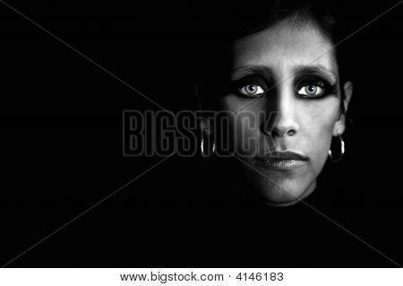 Beautiful Woman In A Black Turtleneck
