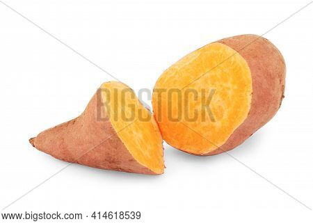 Sweet Potatoes On White Background Small, Studio, Edible, Detail, Vegetable, Root, Crop, Yam
