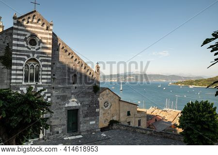 Porto Venere Liguria. June 2020. View From The Church Of San Lorenzo On The Enchanting Bay. Beautifu