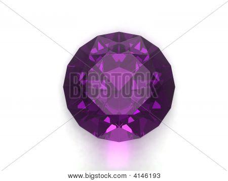 Amethyst gemstone isolated on white background. Luxury object. poster
