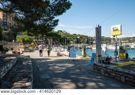 Portovenere, Liguria, Italy. June 2020. View Of The Seascape: On The Waterfront A Petrol Station, Mo