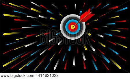 Dartboard And Red Dart Arrow In The Target Centre On Black Background Vector Illustration.