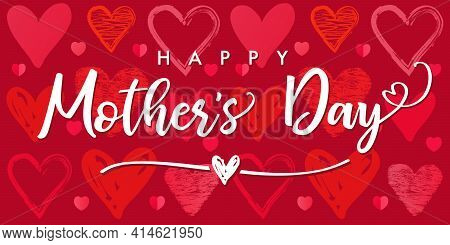 Happy Mothers Day Poster With Sketch Hearts Pattern Background. Web Banner For Mother's Day Inscript