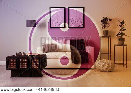 Stylish Living Room Interior And Yin Yang Symbol. Feng Shui Philosophy