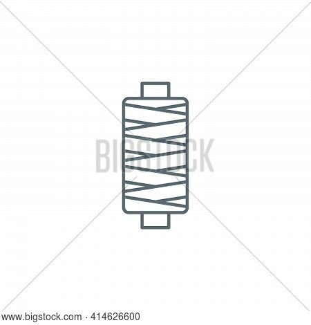 Sewing Thread On Spool Icon Isolated On White Background. Yarn Spool. Thread Bobbin. Set Icons Color