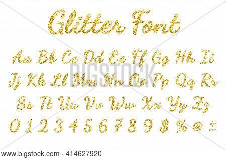 Gold Sparkling Glitter Font In White Background. Vector
